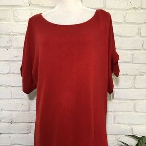 Banana Republic RED Cold Shoulder Blouse  L